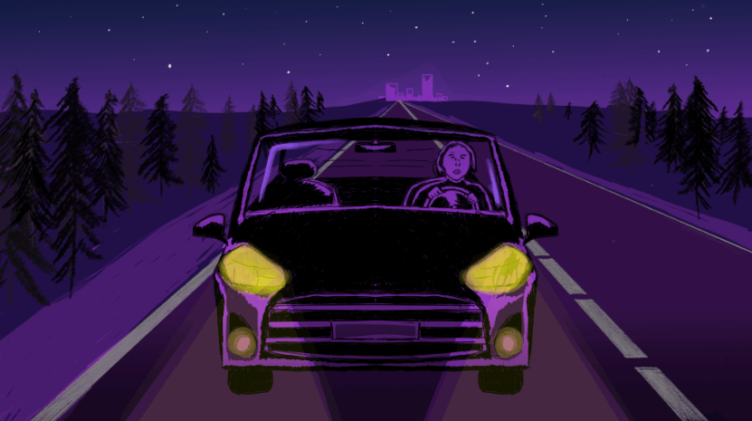 An illustration of a person driving down the road at night